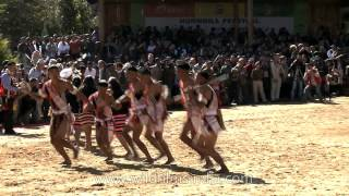 Tribal chants, drums and war cries at the opening of Hornbill Festival, Nagaland