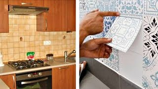 видео Наклейки на кафельную плитку в ванную комнату и кухню