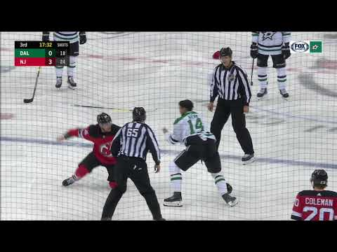 NHL Fight: Dallas Stars' Jamie Benn vs. New Jersey Devils' Miles Wood