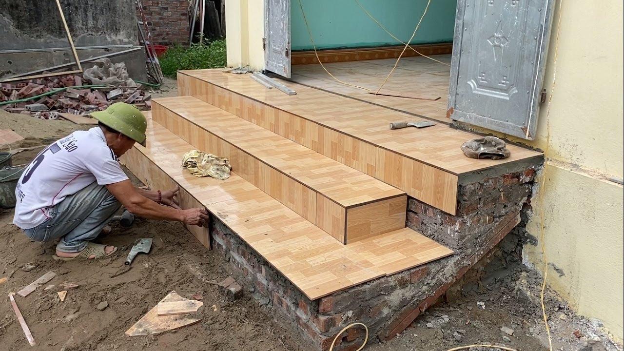 Techniques Constructing Reinforced Concrete Porch Steps And Installing Ceramic Tiles