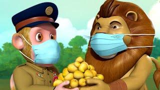 Police Bandar Mama Aaye, Mask Pehenkar Baahar Jaaye   Hindi Rhymes for Children   Infobells