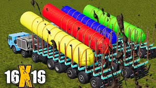 LORD OF COLORS ! 16X16 TATRA FORESTRY TRUCK VS HUGE  COLORED LOGS ! TRANSPORT ! Farming Simulator 19