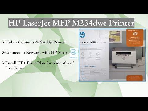 HP LaserJet MFP M234dwe Printer : Unbox, Setup, Connect & Enroll Print plans for 6 months free Toner