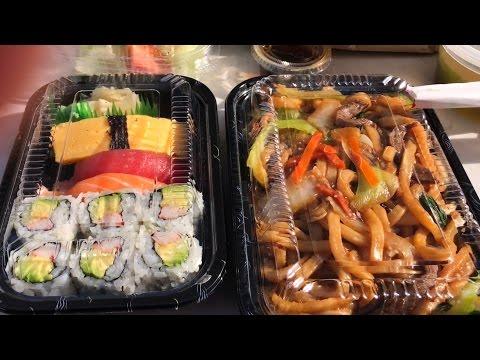 Eating Sushi & Japanese Stir Fry Noodles | Mukbang | Eating Show