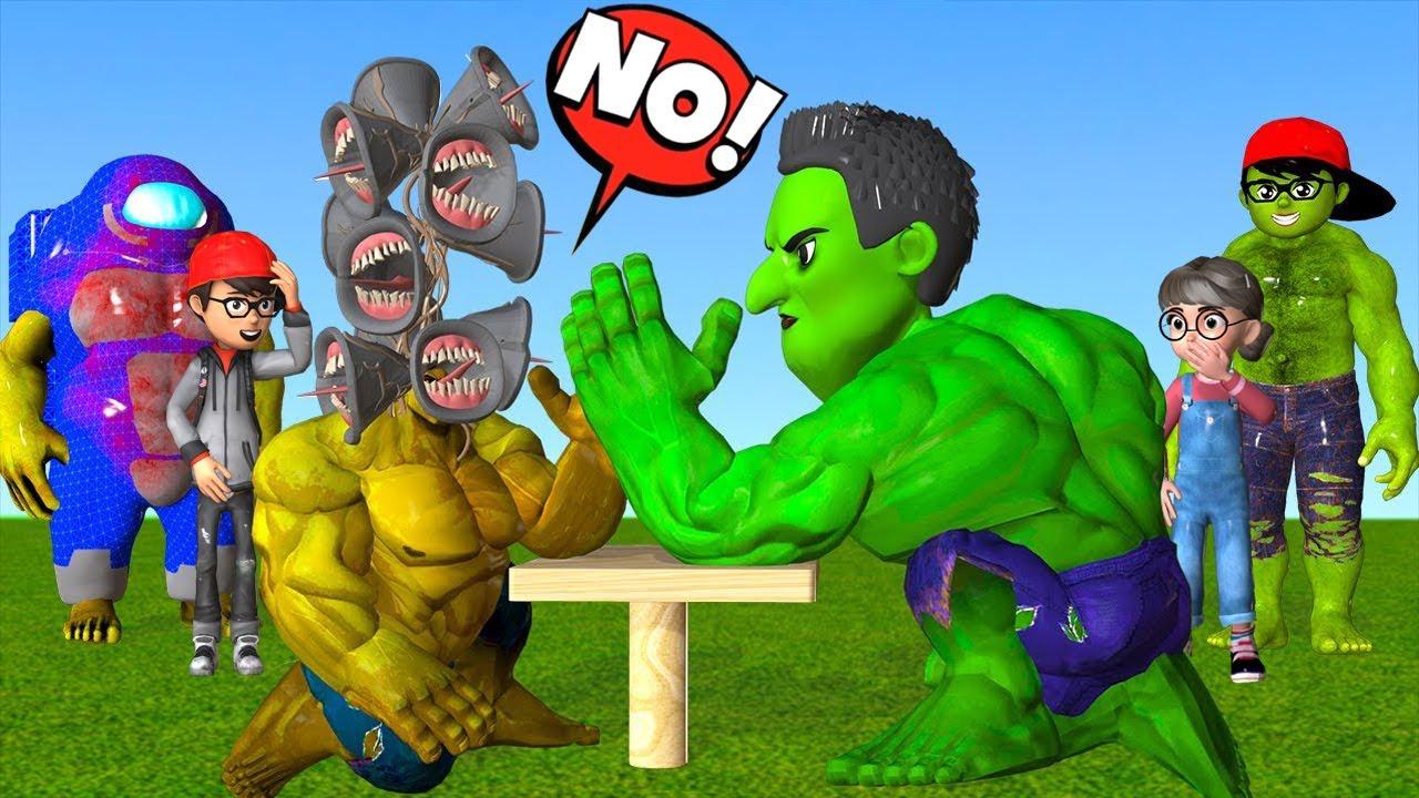 Scary Teacher 3D NickHulk vs Miss T Hulk Confrontation Siren Head Hulk vs Among Us Fun Game Champion