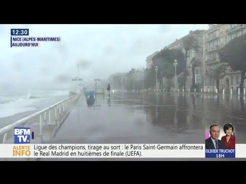 À Nice, la promenade des Anglais fermée aux piétons à cause de fortes vagues 🌊🌊