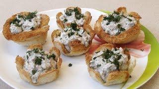 Тарталетки из хлеба с тунцом