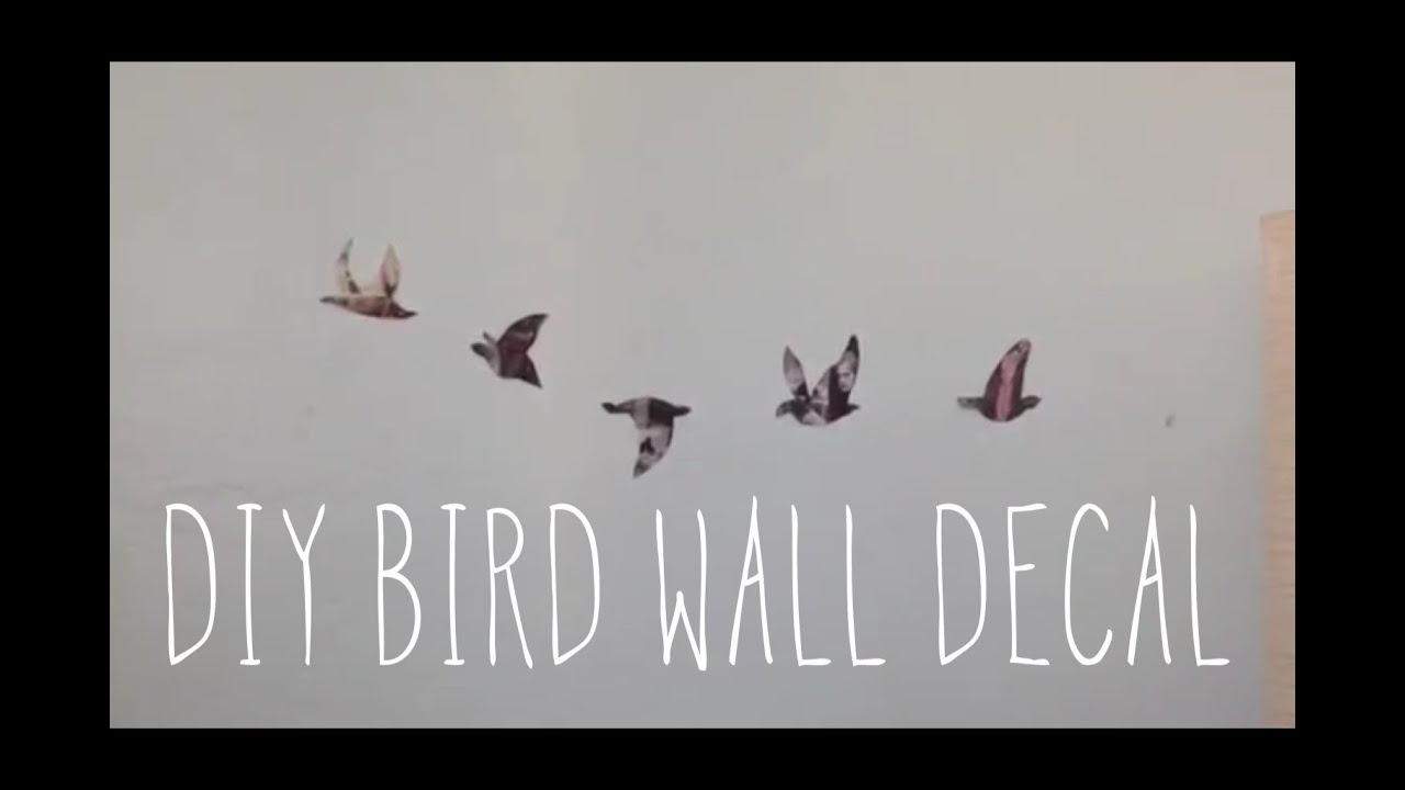 diy room decorations: bird wall decal - youtube