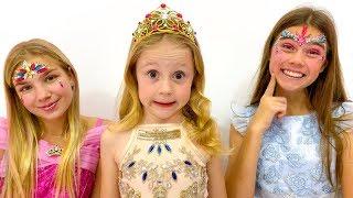 Nastya hace pintura de cara para concurso de belleza