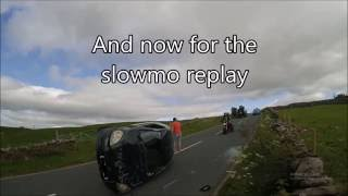 uk cammer flips his toyota yaris as he tries to avoid oncoming overtaker