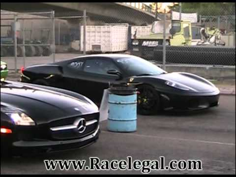 2011 Mercedes-Benz SLS AMG vs 2007 Ferrari F430 Drag Racing  Racelegal.com 6-29-2012