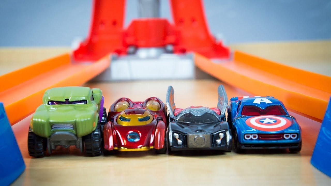avengers hot wheels thor hulk captain america iron man toy cars youtube