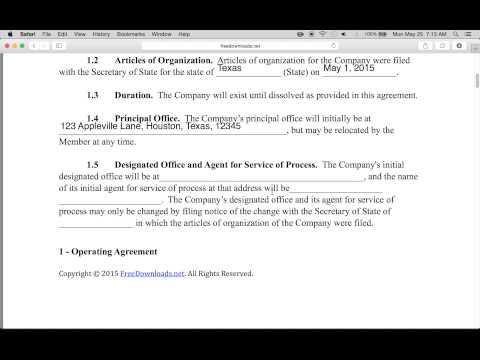 Single Member Llc Operating Agreement Template