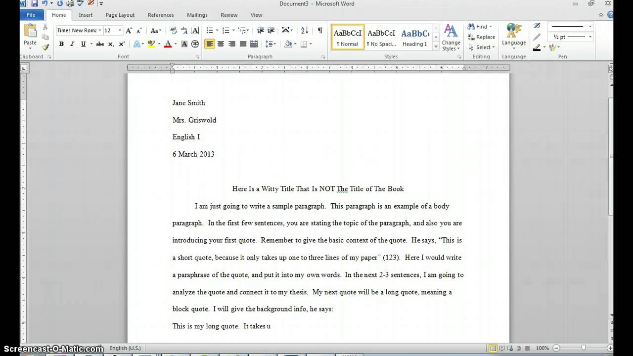 starting a paper with a quote