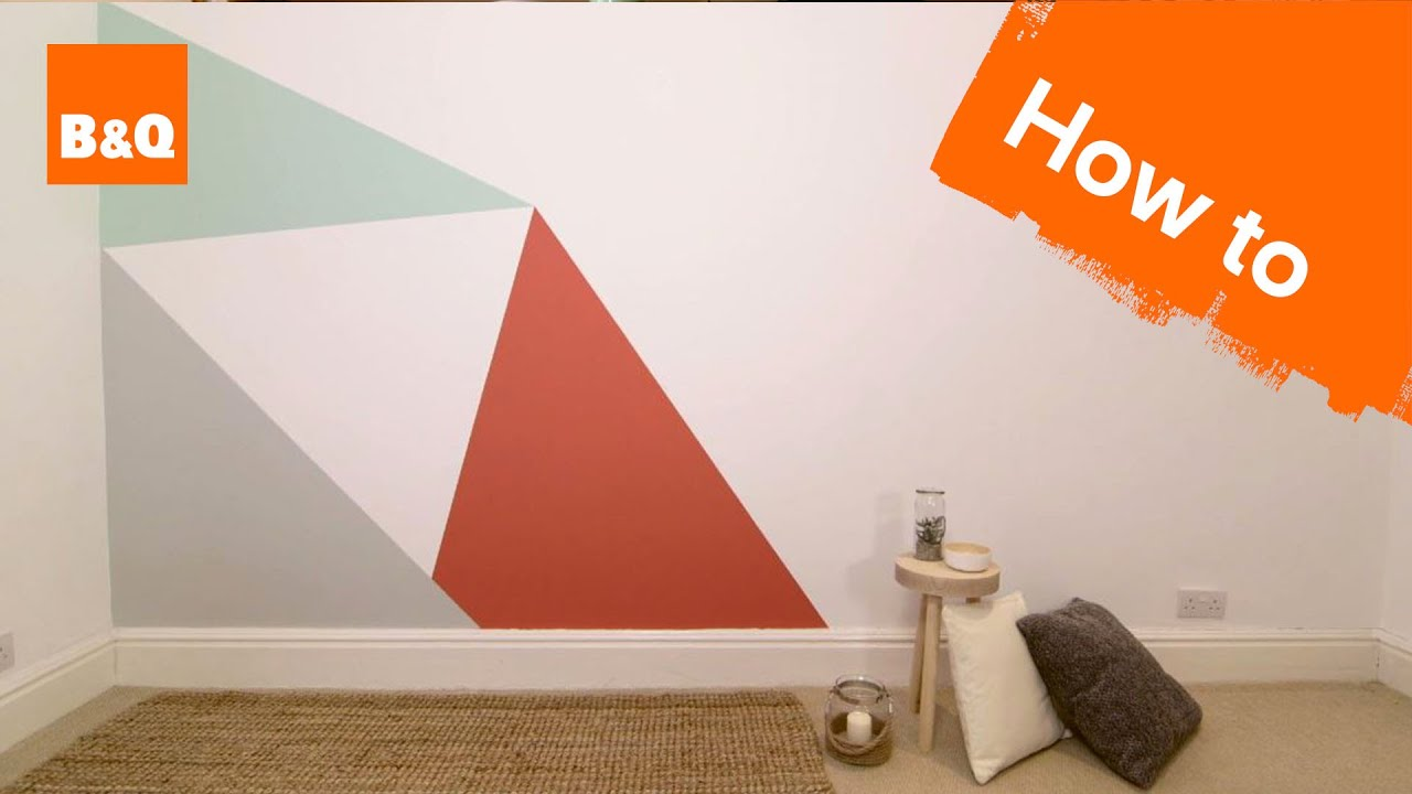 How to paint a geometric triangle feature wall youtube Painting geometric patterns on walls