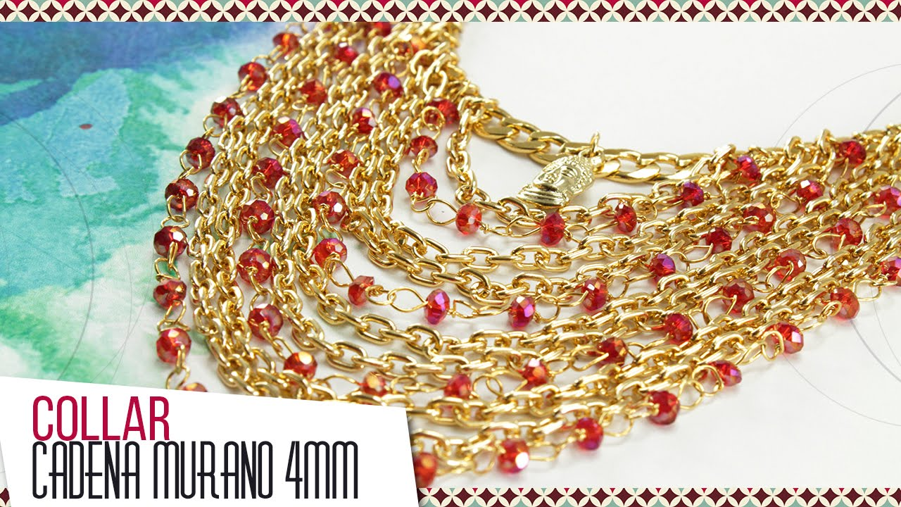 fbdf4f39a0c5 Cómo hacer collar con murano rojo y cadena