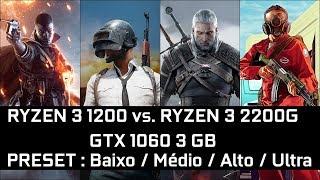 RYZEN 3 1200 vs. RYZEN 3 2200G (GTX 1060 3GB) - TESTE em 6 GAMES