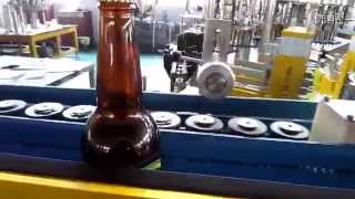 Wet Glue Labeling Machine Beer Bottles Double Sided Paste Label Applicator Machinery Testing Video