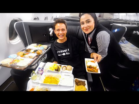 15 Courses BUSINESS CLASS Food on IRAN AIRLINES!! | Mahan Air - Bangkok to Tehran!