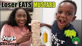 Jenga Challenge Loser Eats MUSTARD