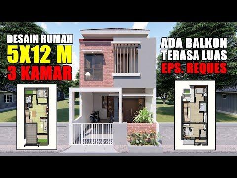 Rumah Minimalis 2 Lantai Ukuran 9x12  desain rumah 5x12 m 2 lantai dengan 3 kamar tidur youtube