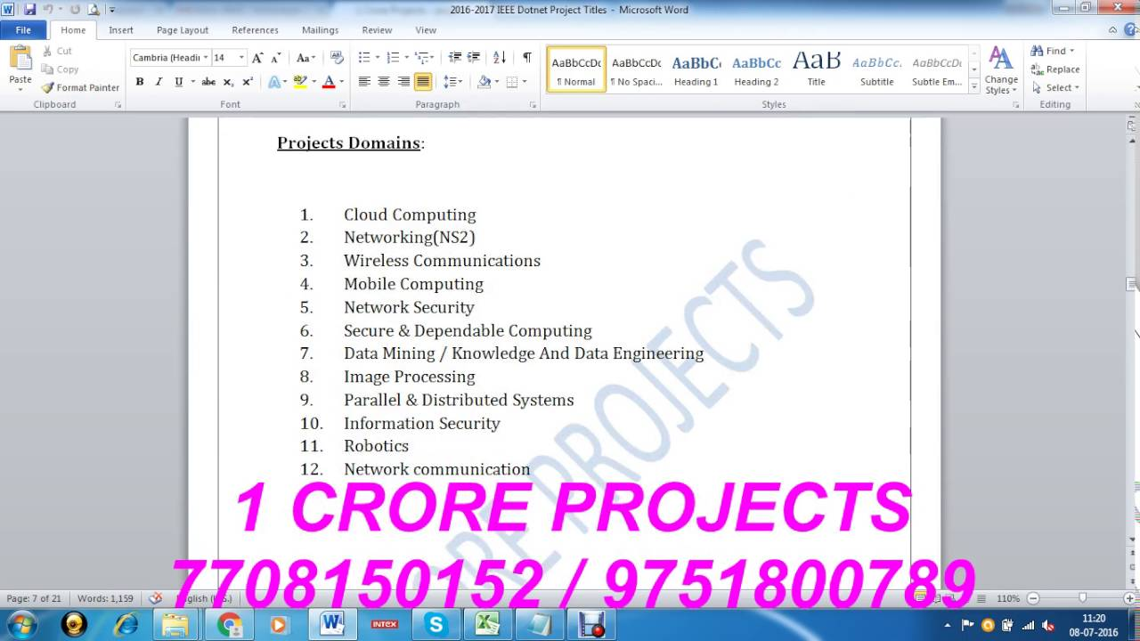 ms project title