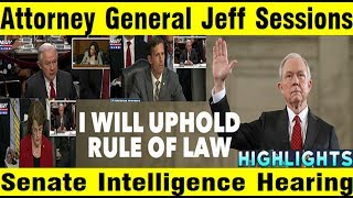AG Jeff Sessions - Highlights - Senate Intelligence Committee Free HD Video