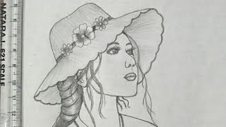 beautiful girl with hat drawing for beginners #shorts #drawing #girldrawing