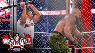 Strowman launches McMahon off the Steel Cage: WrestleMania 37 - Night 1 (WWE Network Exclusive)
