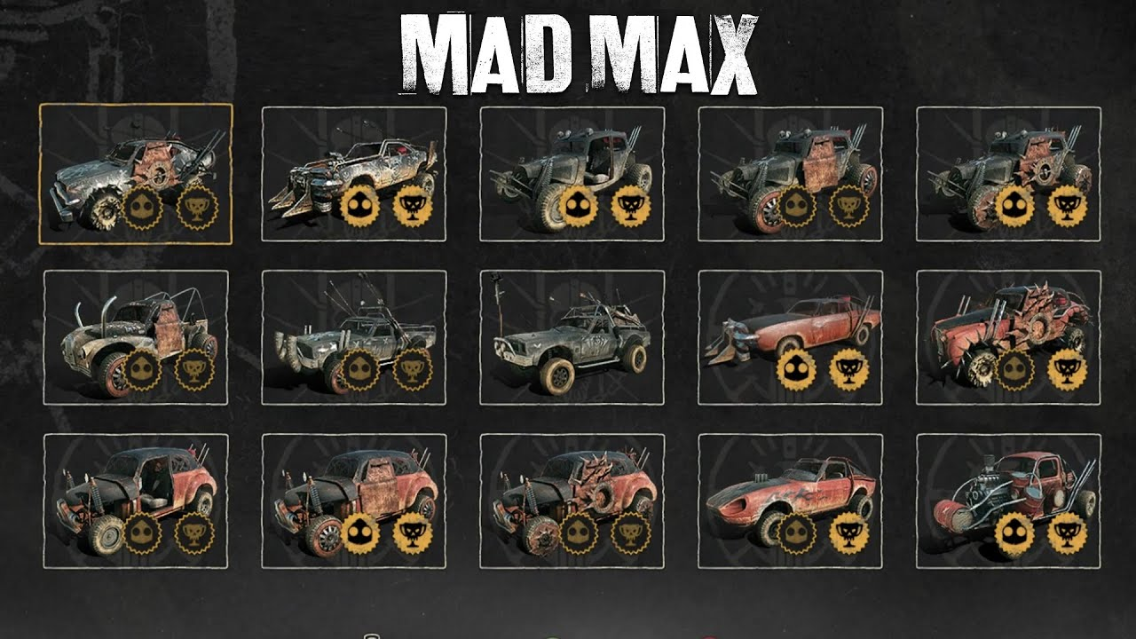 Mad Max - All Collectible Cars Gameplay (All in-game Vehicles ...