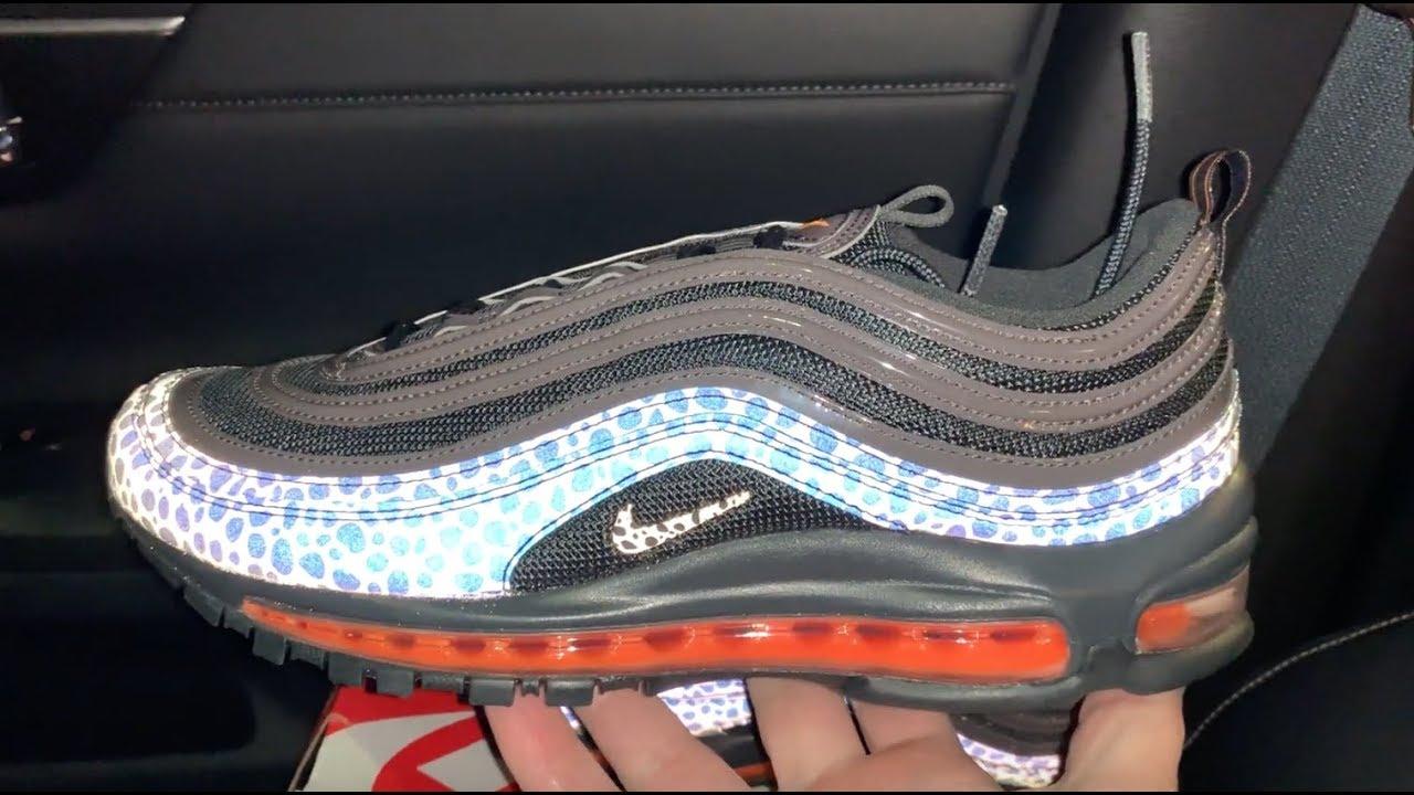 brand new 763ac fd47b Nike Air Max 97 Reflective Safari Black Orange sneakers