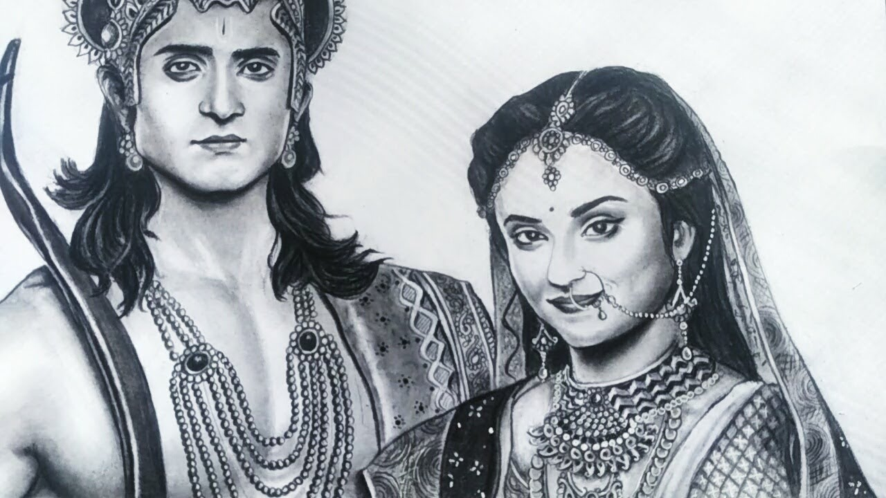 Ram Sita Pencil Draw Black And White