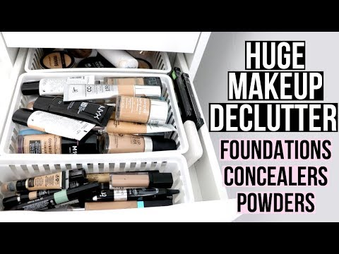 BIG MAKEUP DECLUTTER 2018 | Foundations, Concealers & Powders