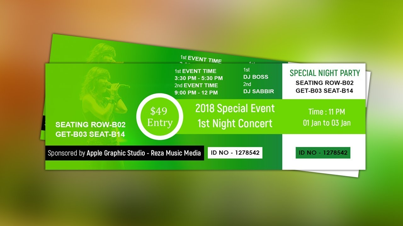 how to create event ticket design photoshop tutorial youtube