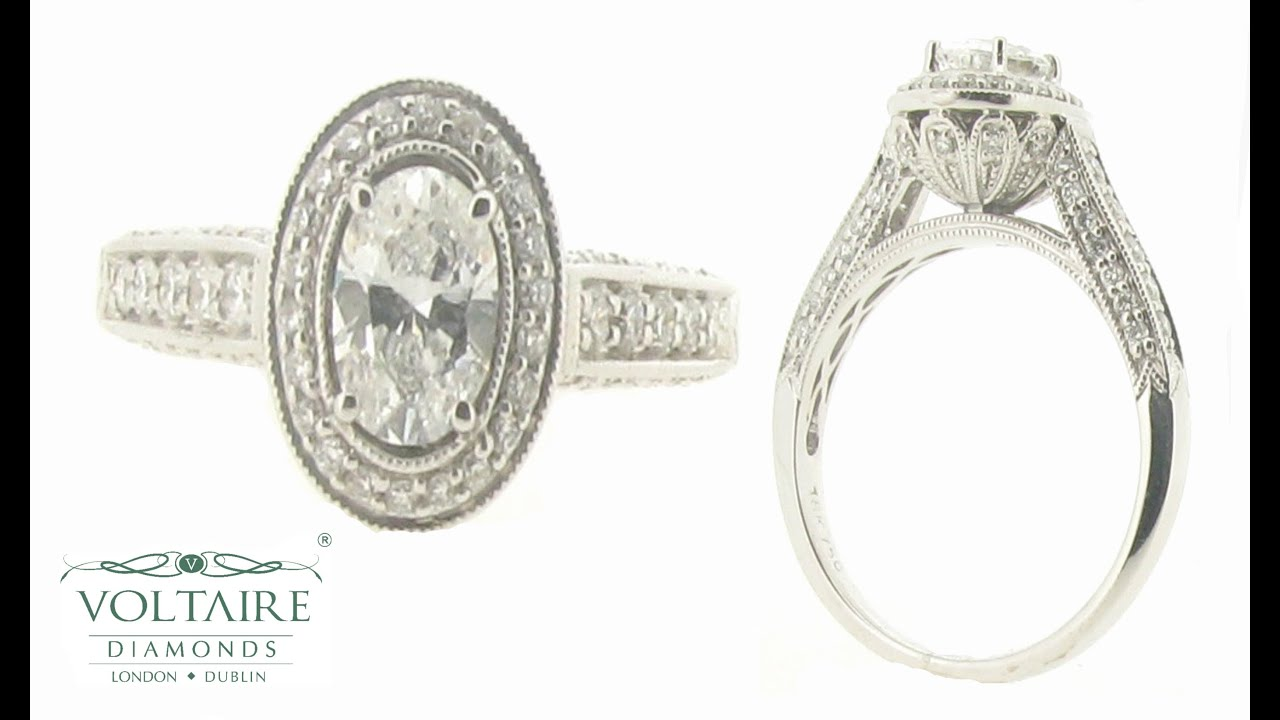 Oval Halo Antique Style Ring With Diamond Basket And Pave Shoulders Er 1983