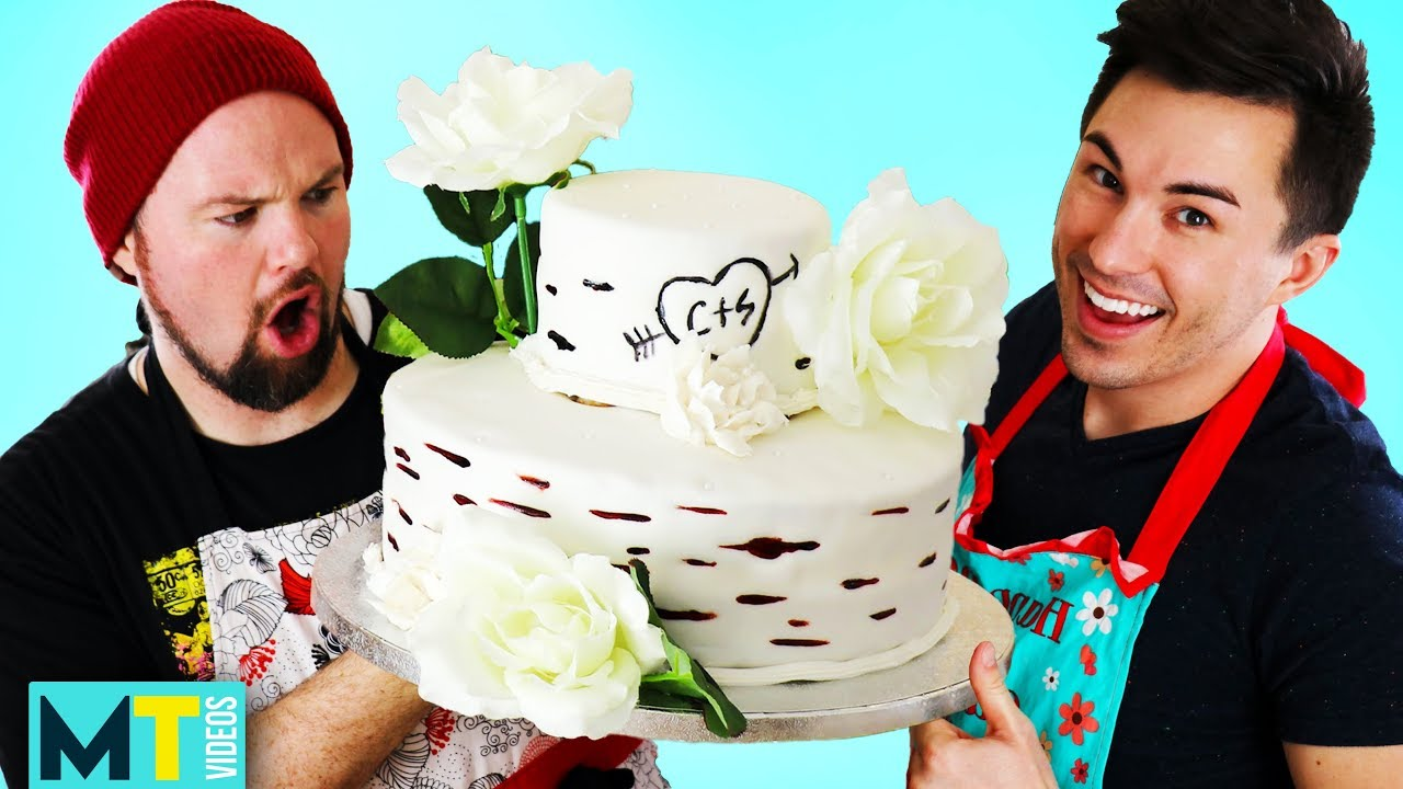 Men Try Decorating a Wedding Cake