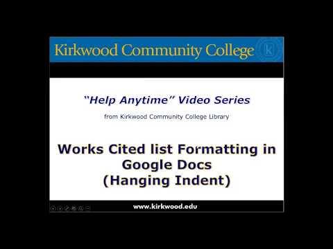 Formatting Works Cited list, MLA Format, Google Docs