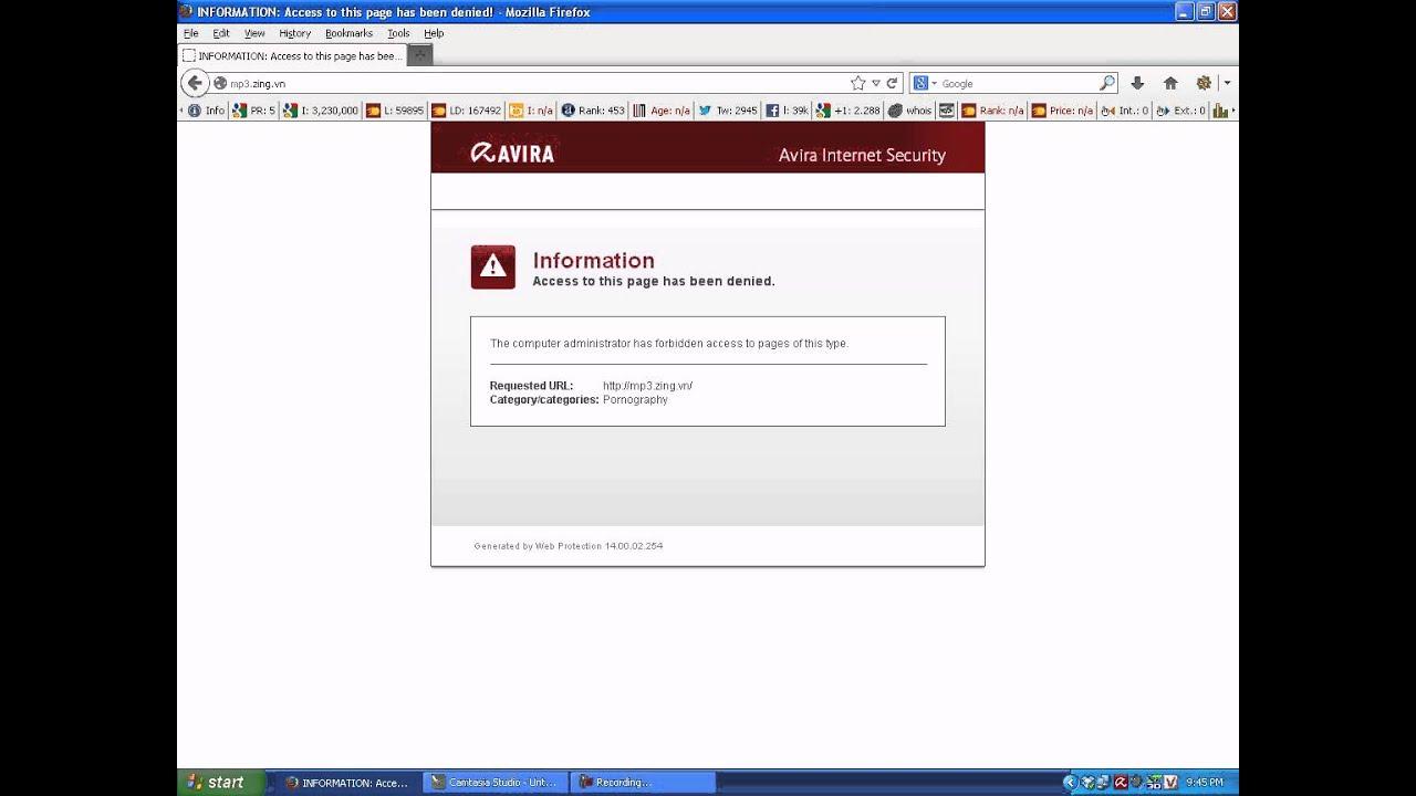 Hướng dẫn unlock web khi bị phần mềm diệt virus Avira chặn
