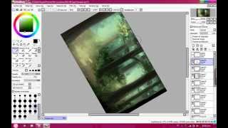 Drawing a background with paint tool Sai - forest -