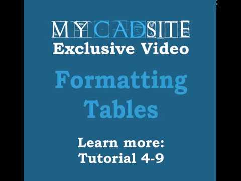 AutoCAD 2016 Data Tables in AutoCAD, level 4, lesson 9, Formatting Tables in AutoCAD