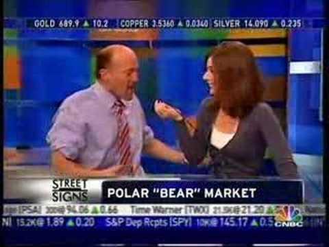 Jim Cramer talks into Erin Burnett's chest - YouTube