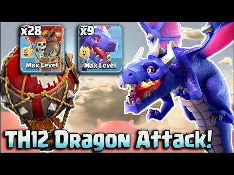TH12 Dragon Attack Strategy 2018! 9 Max Dragon 28 Max Balloon Easy 3Star TH12 Base | Clash Of Clans