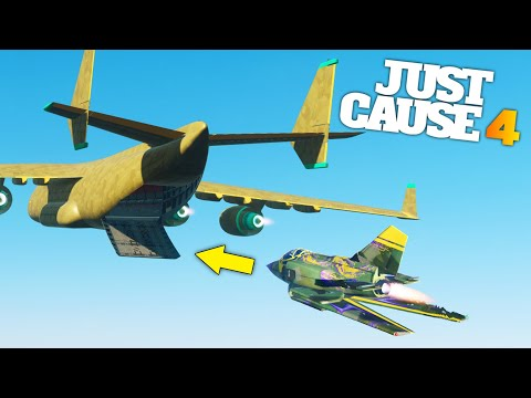 Just Cause 4 - FLYING A JET INSIDE THE CARGO PLANE MID AIR (Just Cause 4 Stunts) thumbnail