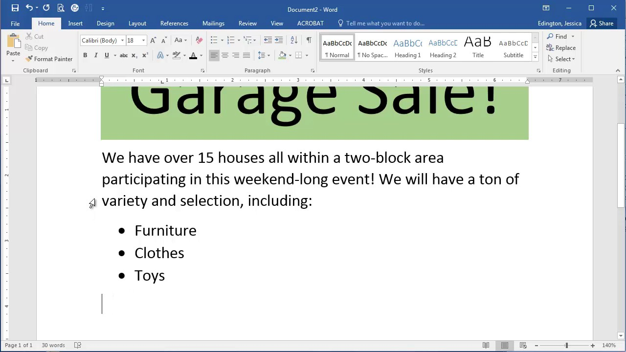 microsoft word 2016 creating bulleted lists youtube