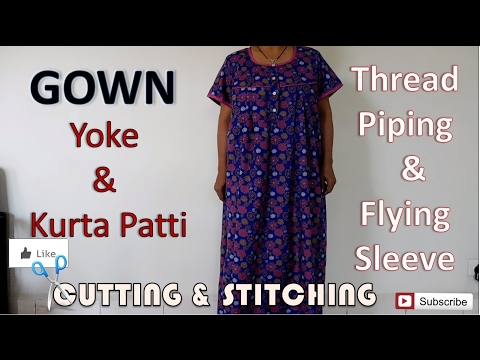 Gown / Nighty | Thread Piping | Flying Sleeve | How To Sewing Tutorial | Diy