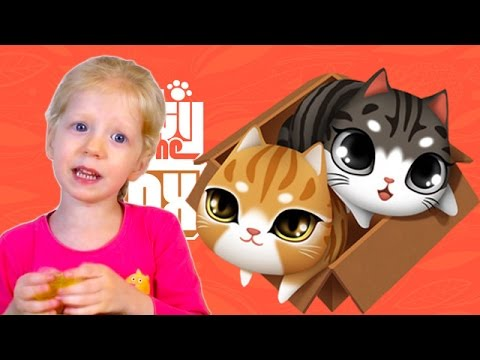 Играем в игру kitty in the box милая игра про Маленьких КОТЯТ Милана и папа играют от Family Box