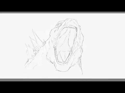 GODZILLA drawing rough sketch YouTube