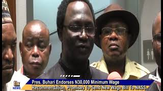 Pres. Buhari Endorses N30,000 Minimum Wage Recommendation, Promises To Send New Wage Bill To NASS
