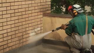 очистка стен фасада здания пескоструйной машиной Energy-Blast