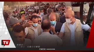 لحظة وصول وزير النقل كامل الوزير موقع حادث قطار طوخ
